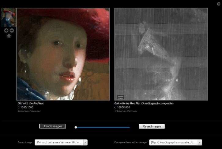 Color and Xray comparison of Vermeer's Girl with the Red Hat